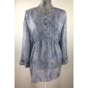J Jill XL Purple Blue Floral Top Shirt Lightweight